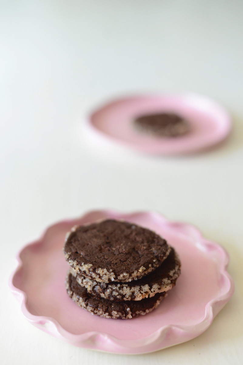 {Chocolate sables from McCall's Butcher Shop on the prettiest pink plates}