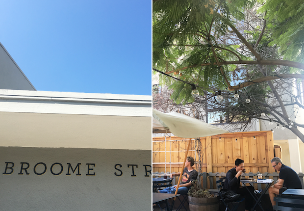 The Broome Street sister store, left; and the charming outdoor patio at the General Store cafe, right
