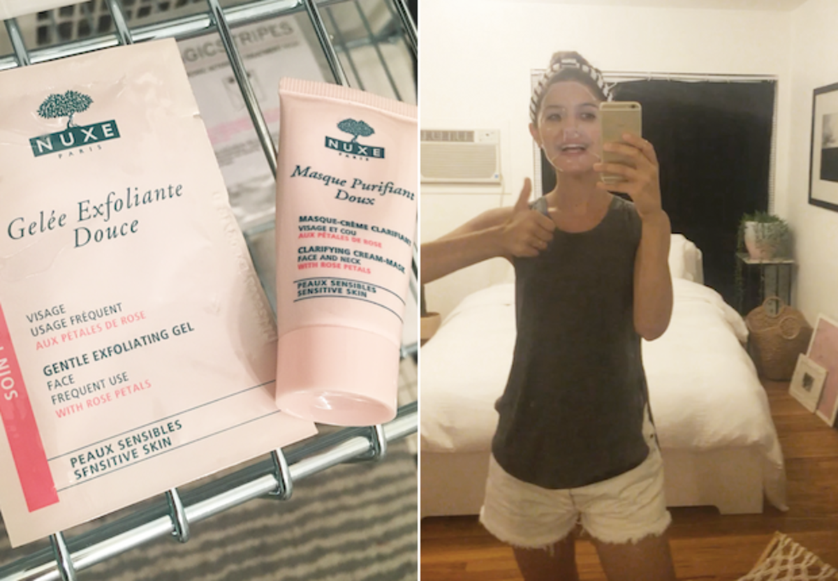 New samples I tried, left; classic Hannibal Lecter-looking hyaluronic acid face mask, right
