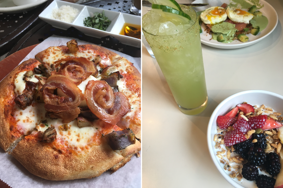 Left: Breakfast pizza at Urth Caffé; Right: Granola and celery drink at Winsome