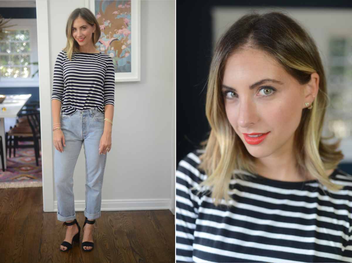 Friday: Cupcakes and Cashmere Top, Vintage Levis, Topshop Sandals, Topshop 'Rio Rio' Lipstick