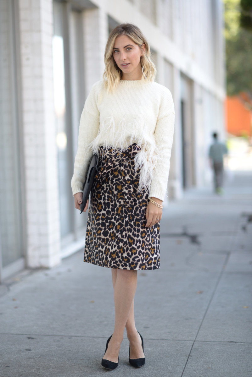 Elizabeth and James Sweater (available in burgundy here), J.Crew Skirt, Manolo Blahnik Pumps, Cuyana Laptop Sleeve