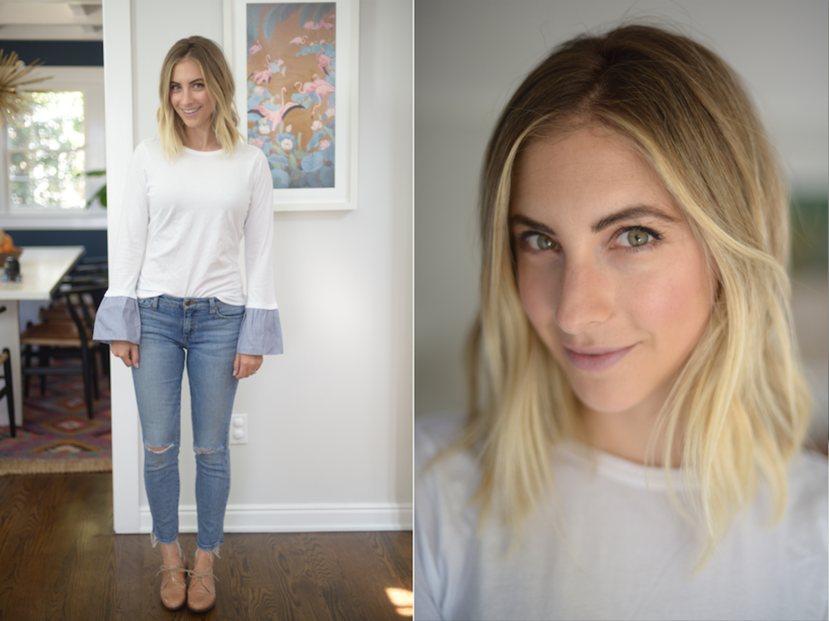 Wednesday: Clu Top, Joe's Jeans, Madewell Brogues (similar here)