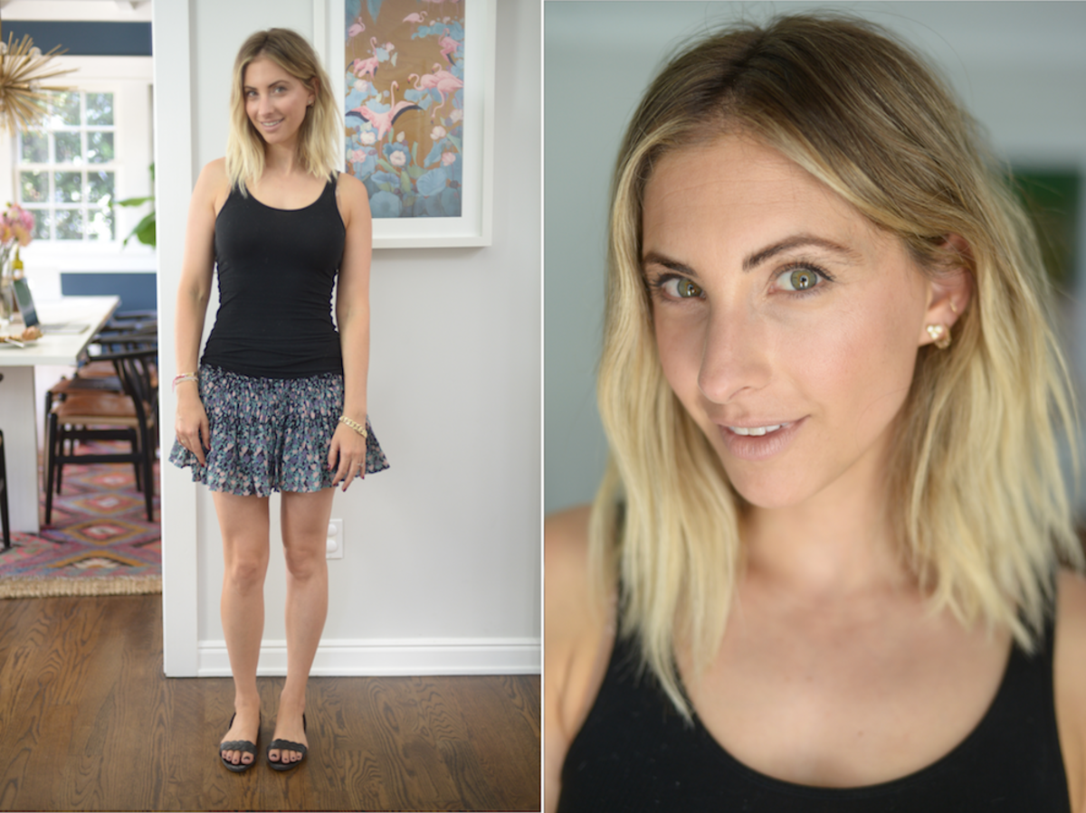 Tuesday: James Perse Tank, LoveShackFancy Skirt, Zara Sandals, Bobbi Brown 'Mod' Lipstick