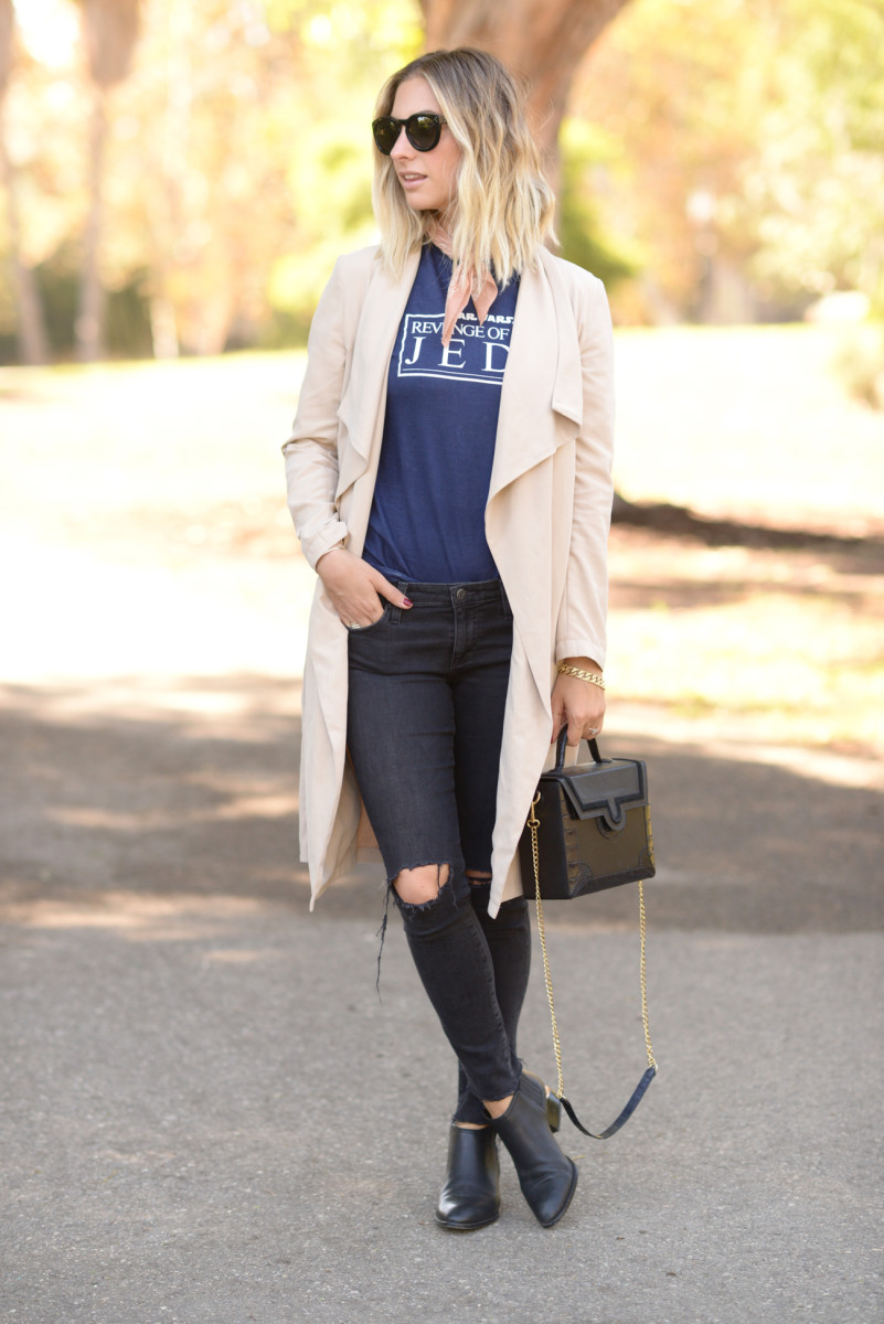 Celine Sunglasses, J.Crew Scarf, Cupcakes and Cashmere Trench (similar here), Vintage Shirt, AG Jeans, Alexander Wang Booties