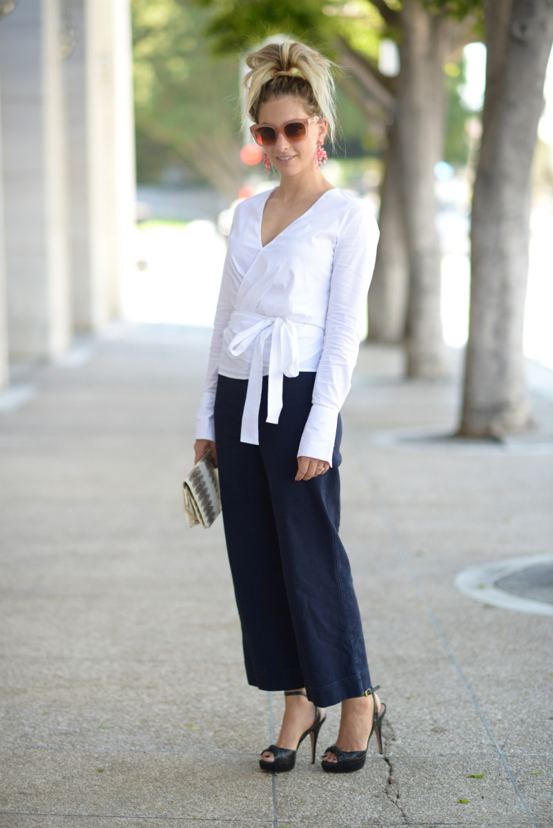 Celine Sunglasses, J.Crew Earrings, MLM Label Shirt, Steven Alan Denim, Prada Heels, Vintage Clutch