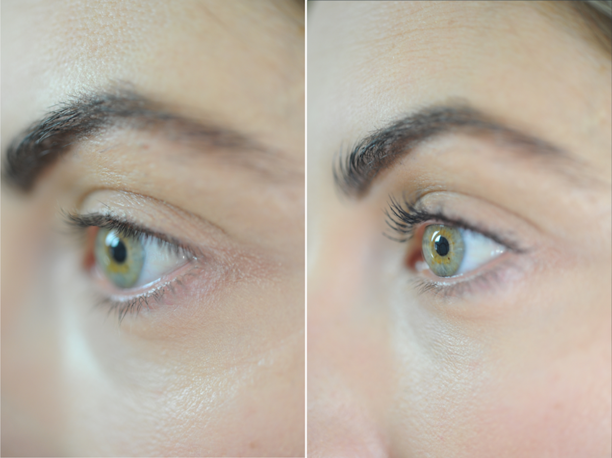 Left: Before; Right: After using the curler, plus one swipe of mascara to emphasize the lashes
