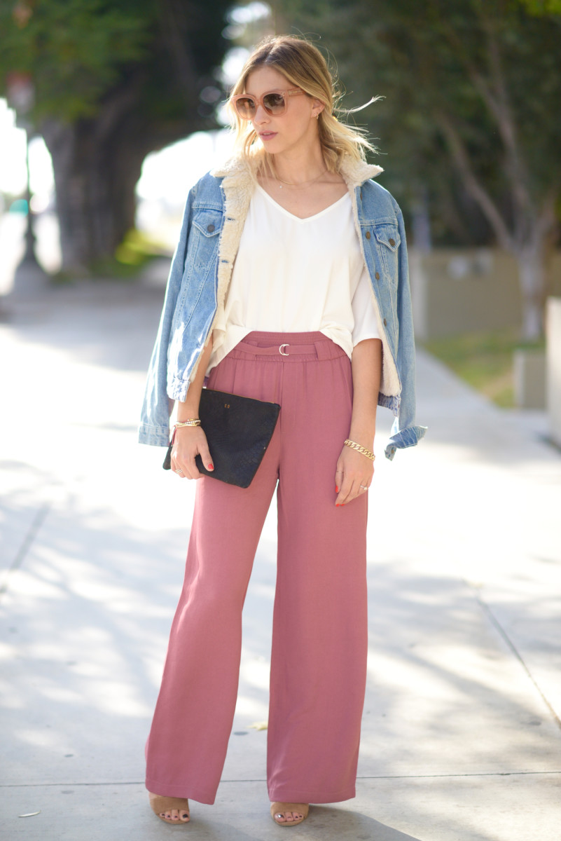 Celine Sunglasses (similar here), Topshop Denim Jacket, Cupcakes and Cashmere Blouse (similar here), Club Monaco Pants, Manolo Blahnik Sandals (similar here), Clare V. Clutch