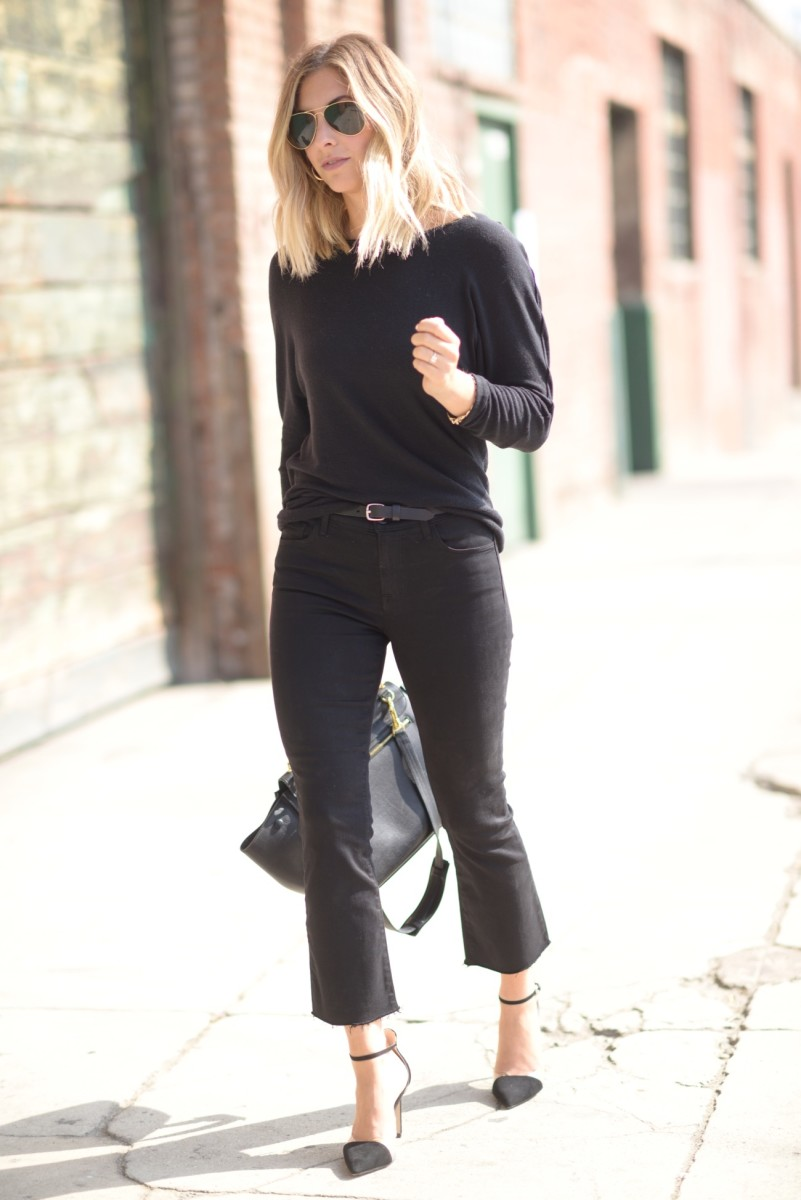 Ray-Ban Aviators, Cupcakes and Cashmere Sweatshirt (available in grey here), JBrand Denim (similar here), Zara Heels (similar here), Celine Bag