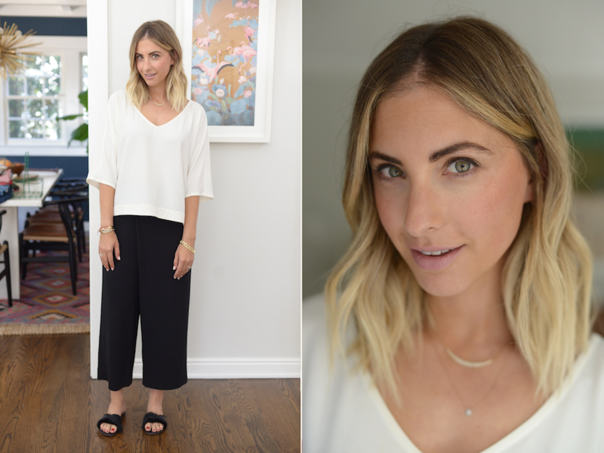 Tuesday: Cupcakes and Cashmere top, Club Monaco Pants,Theory Slides (similar here)