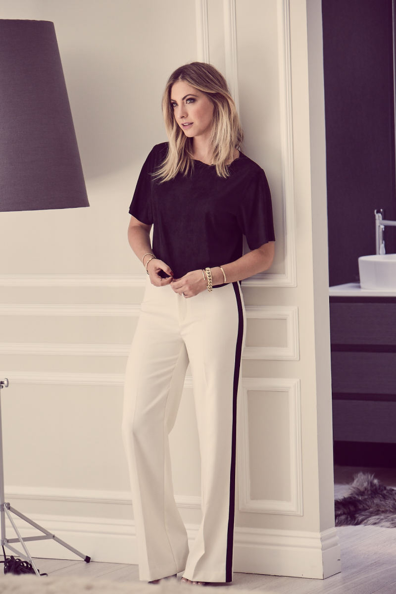 Cupcakes and Cashmere Top and Tuxedo Pants, Zara Sandals