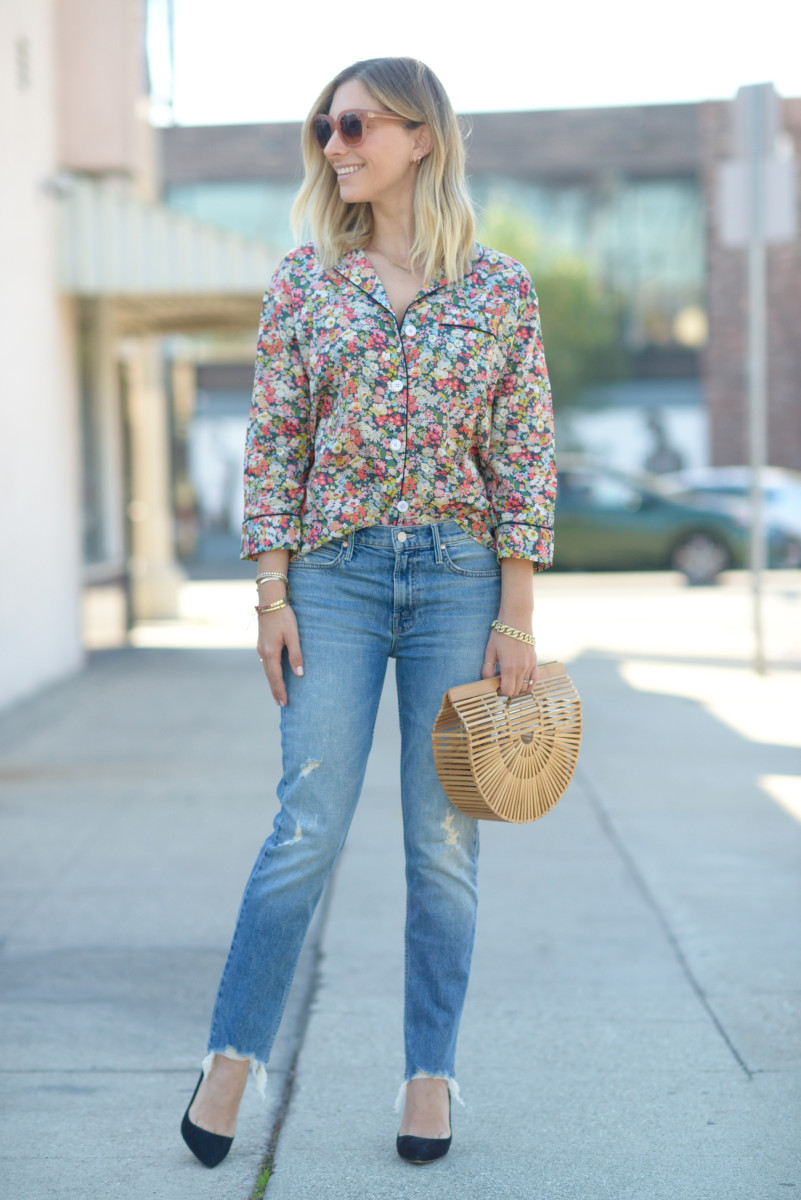 Celine Sunglasses, Sleepy Jones Pajama Top, Cult Gaia Clutch, Mother Jeans, Manolo Blahnik Pumps