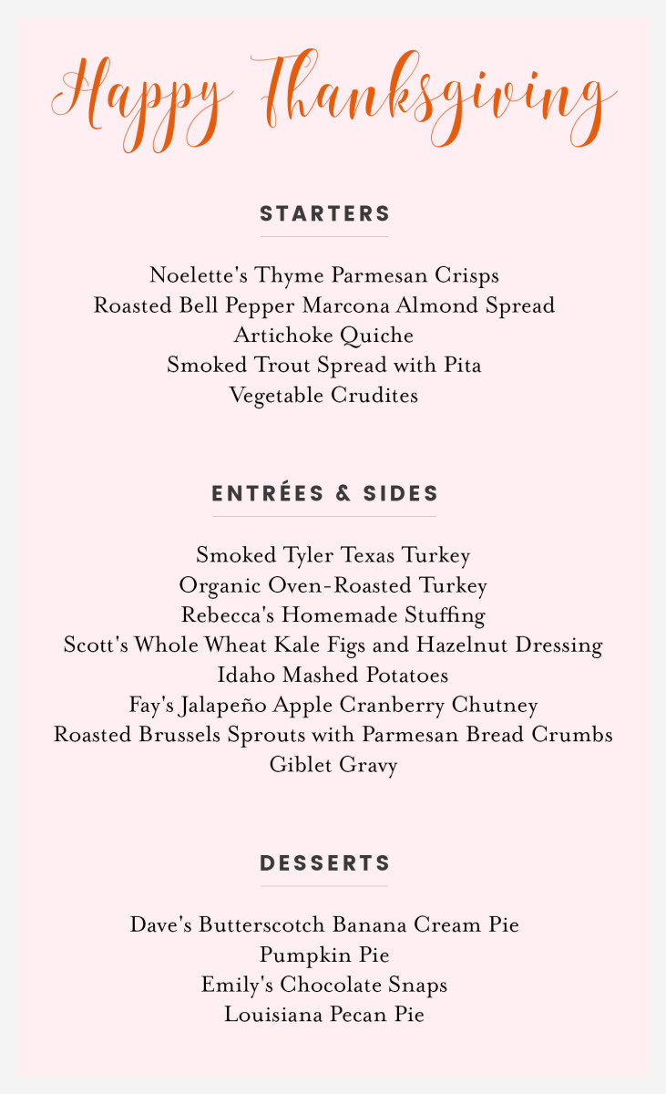 The actual menu from 2012 Thanksgiving