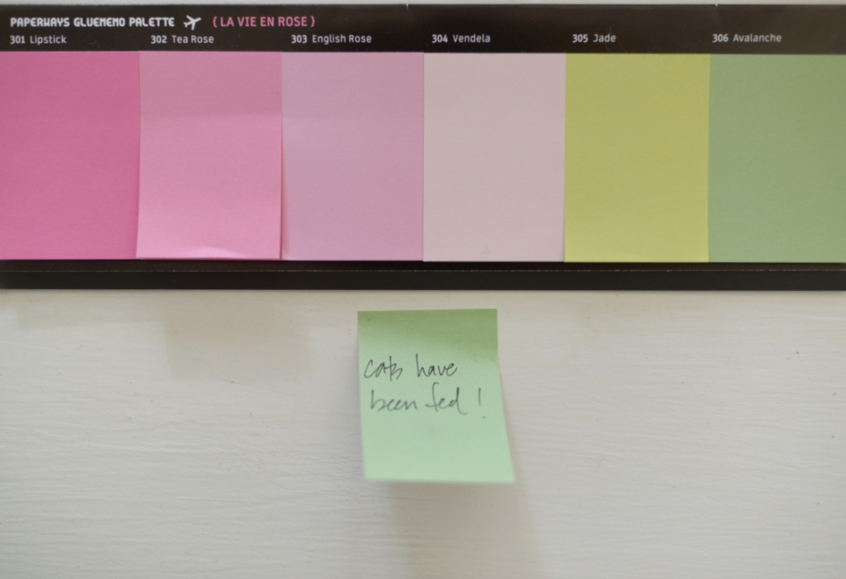 {The sweetest palette of French sticky notes, picked up from my trip in July}
