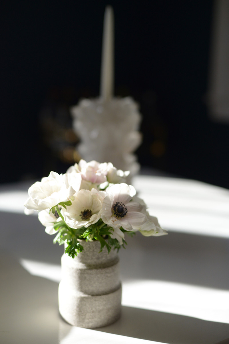 {Black and white anemones on our dining room table}