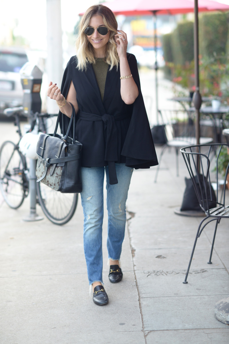 Ray-Ban Aviators, Natori Cape, Madewell Sweater, Mother Jeans, Gucci Loafers, Reed Krakoff Bag
