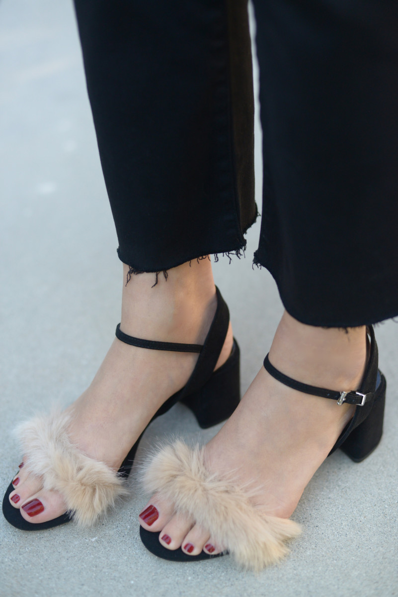 {The cutest faux fur sandals from Zara}