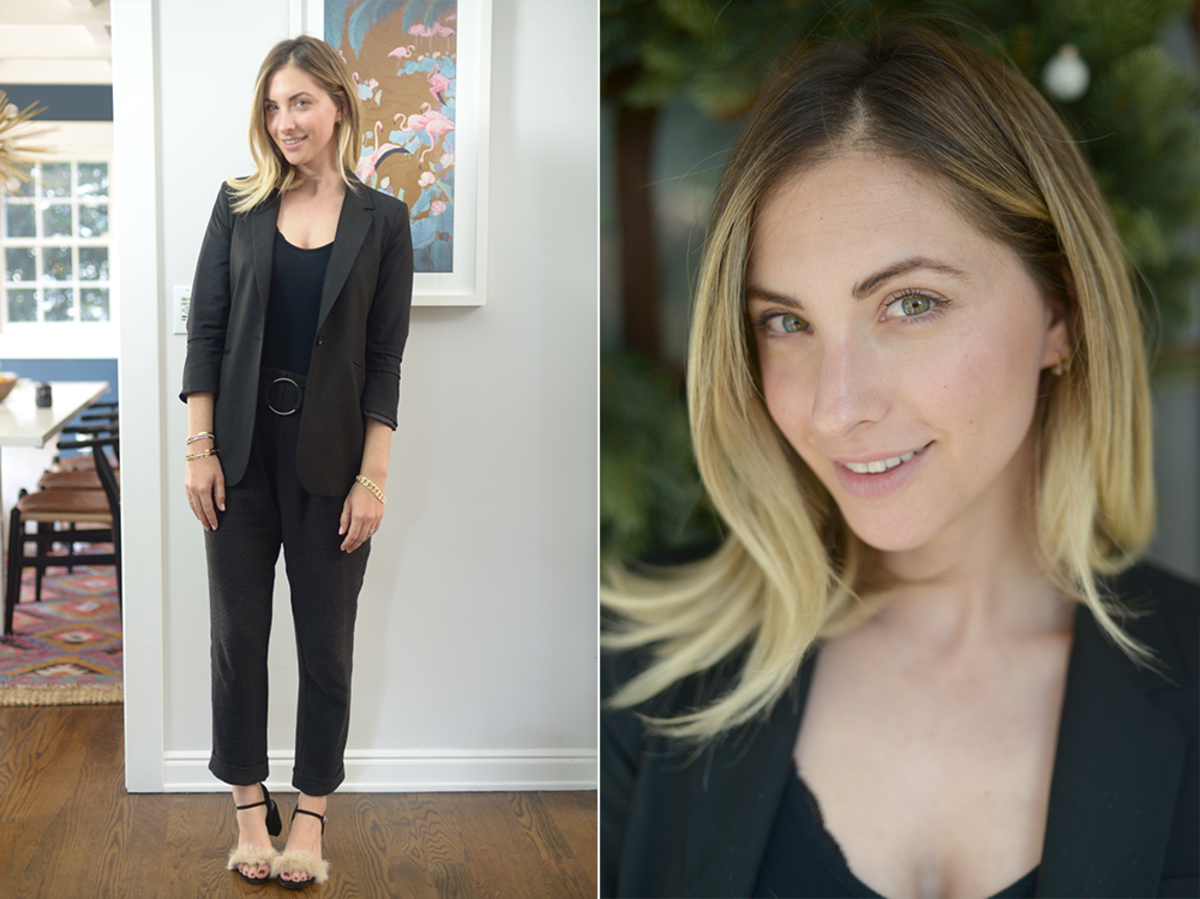 Monday: Elizabeth and James Blazer, ATM Bodysuit, Zara Trousers (similar here) and Shoes