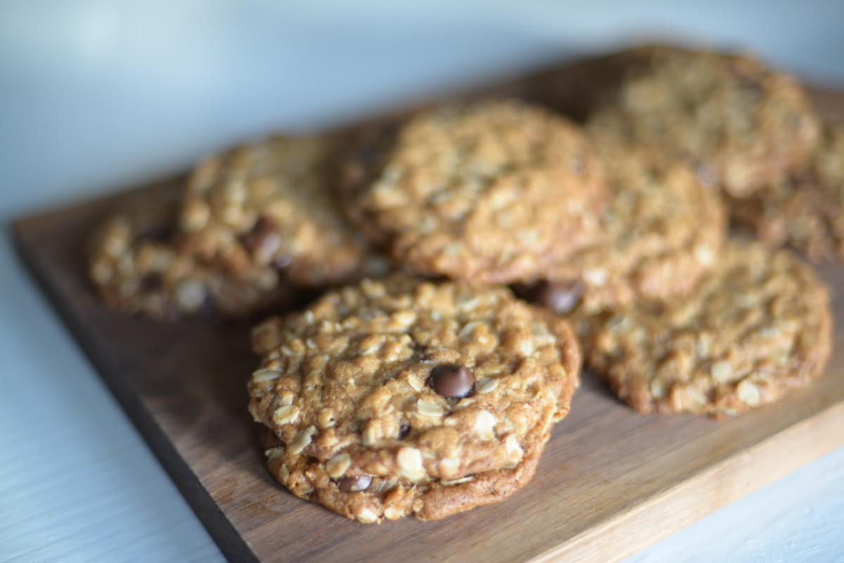 {The perfect chocolate chip-oatmeal cookies from Cook's Illustrated}