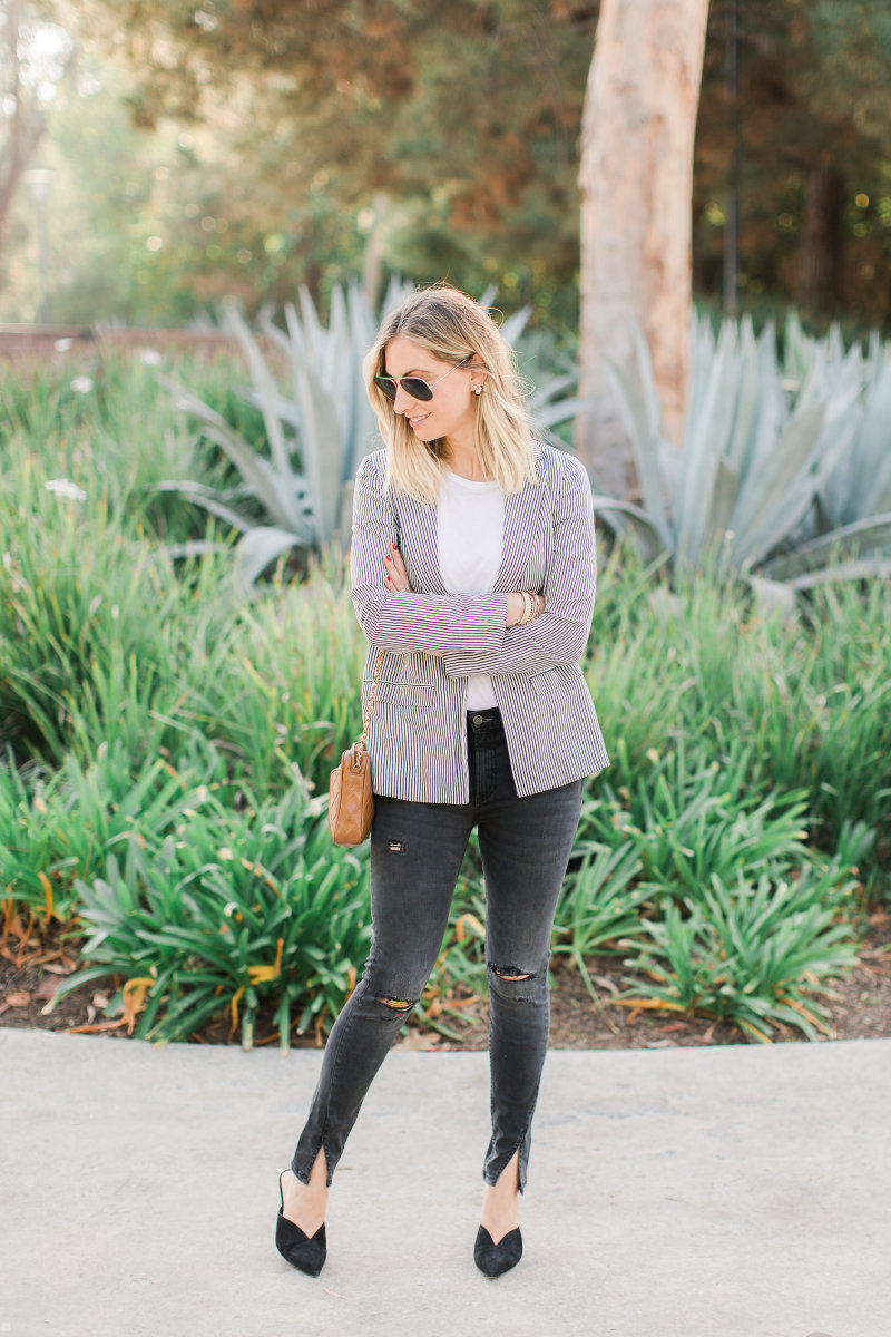 Ray-Ban Aviators, Cupcakes and Cashmere Blazer, Stateside Tee, Boyish Jeans, Alexandre Birman Mules (similar here), Vintage Chanel Bag