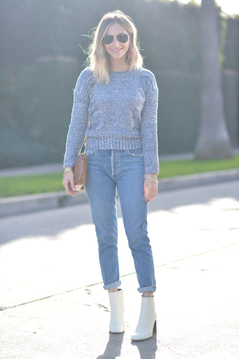 Ray-Ban Aviators, Madewell Earrings, Rails Sweater, Agolde Jeans, Rag & Bone Booties (similar here), Vintage Chanel Purse