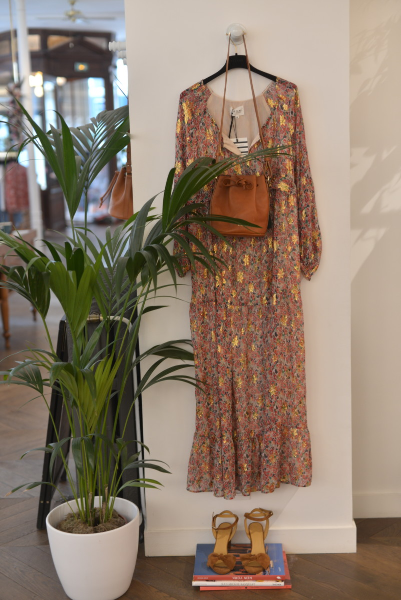 {Annae Dress, Farrow Bag, Charlotte Sandals}