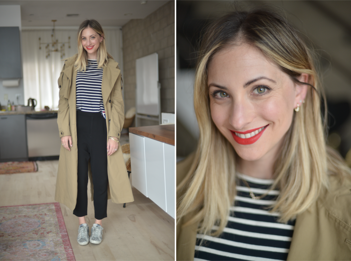 Wednesday: Zara Trench (similar here), Kule Shirt, Nili Lotan Pants (similar hereand here), Golden Goose Sneakers(similar here), Laura Mercier 'Fire' Lipstick