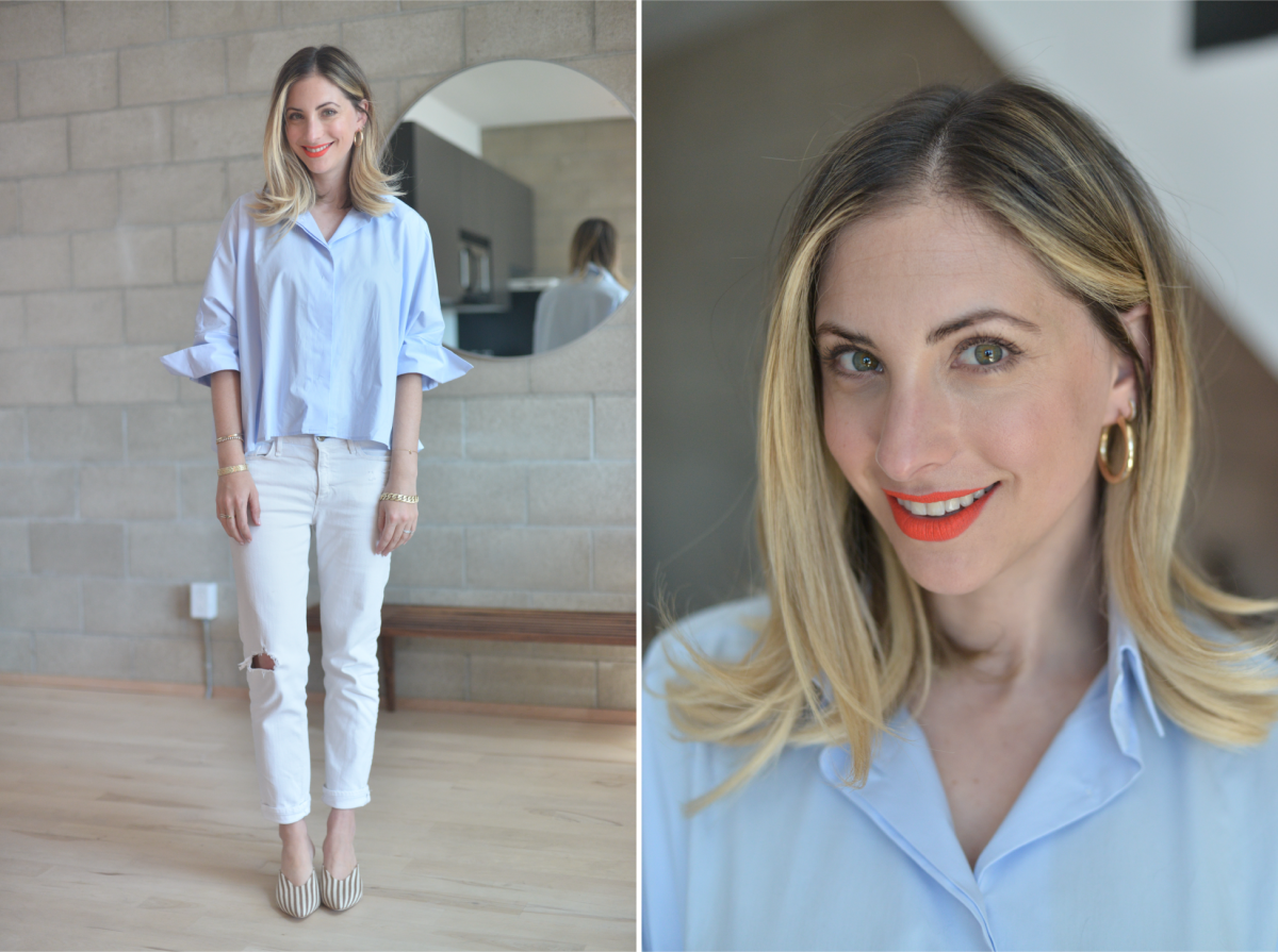 Monday: Concept Eun Hwa Blouse (purchased in Paris), McGuire Denim (similar here), Loeffler Randall Mules, Laura Mercier 'On Point' Lipstick
