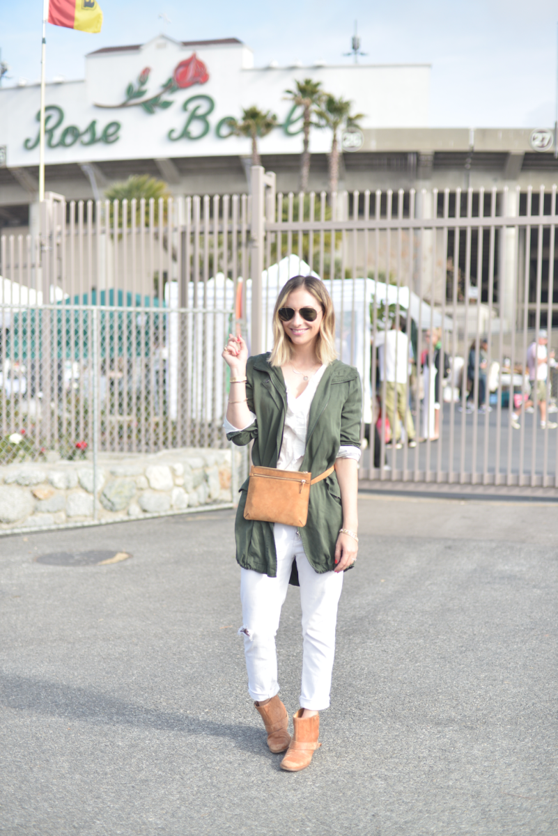 {Ray-Ban Aviators, Cupcakes and Cashmere Coat, Sezane Blouse, Theory Belt Bag McGuire Denim, LD Tuttle Booties}