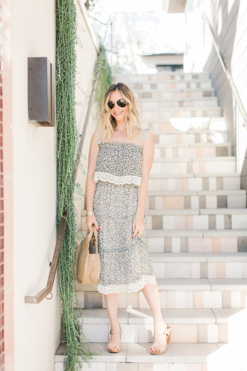 Cupcakes and Cashmere Dress, Ray Ban Aviators, Shiraleah Eden Bag, Theory Sandals (similar here)