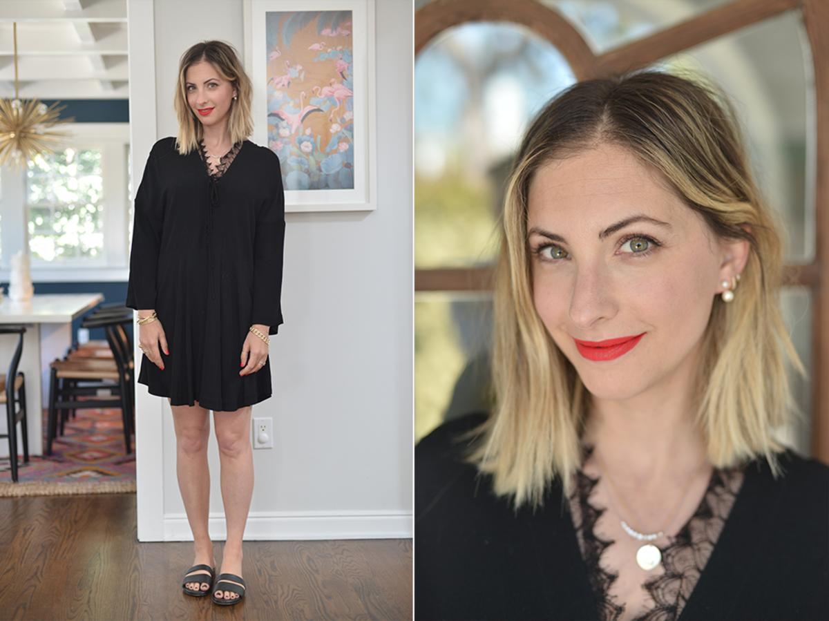 Wednesday: Iro Dress (similar here & on sale!), Newbark Sandals, NARS 'Light My Fire' Lipstick