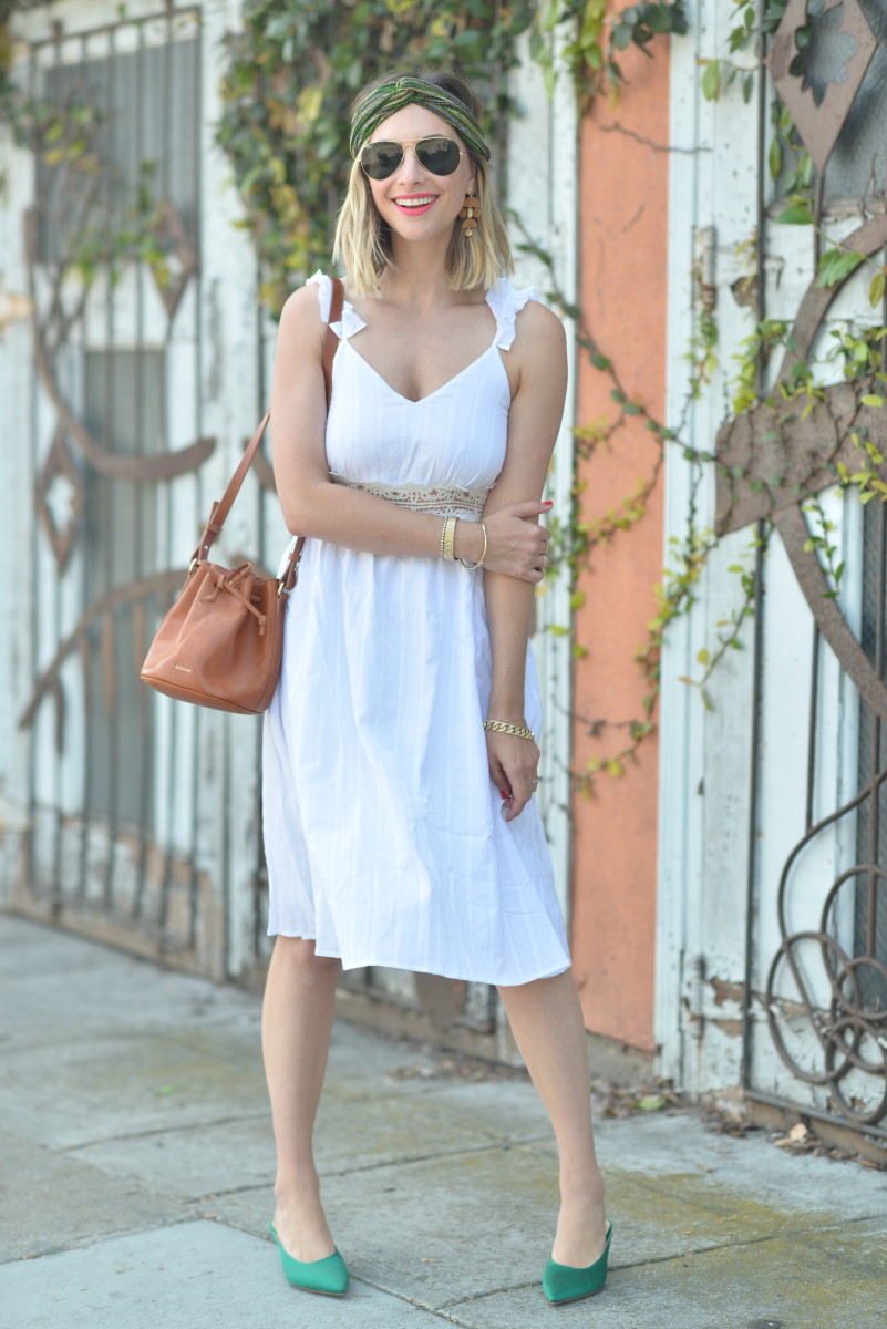 Merci Headband (similar here and here), Earrings (similar coming to the Shop soon!), Ray-Ban Aviators, Moon River Dress, Gianvito Rossi Heels (more affordable version here), Sezane purse, Laura Mercier 'It Girl' + 'Onpoint' Lipstick