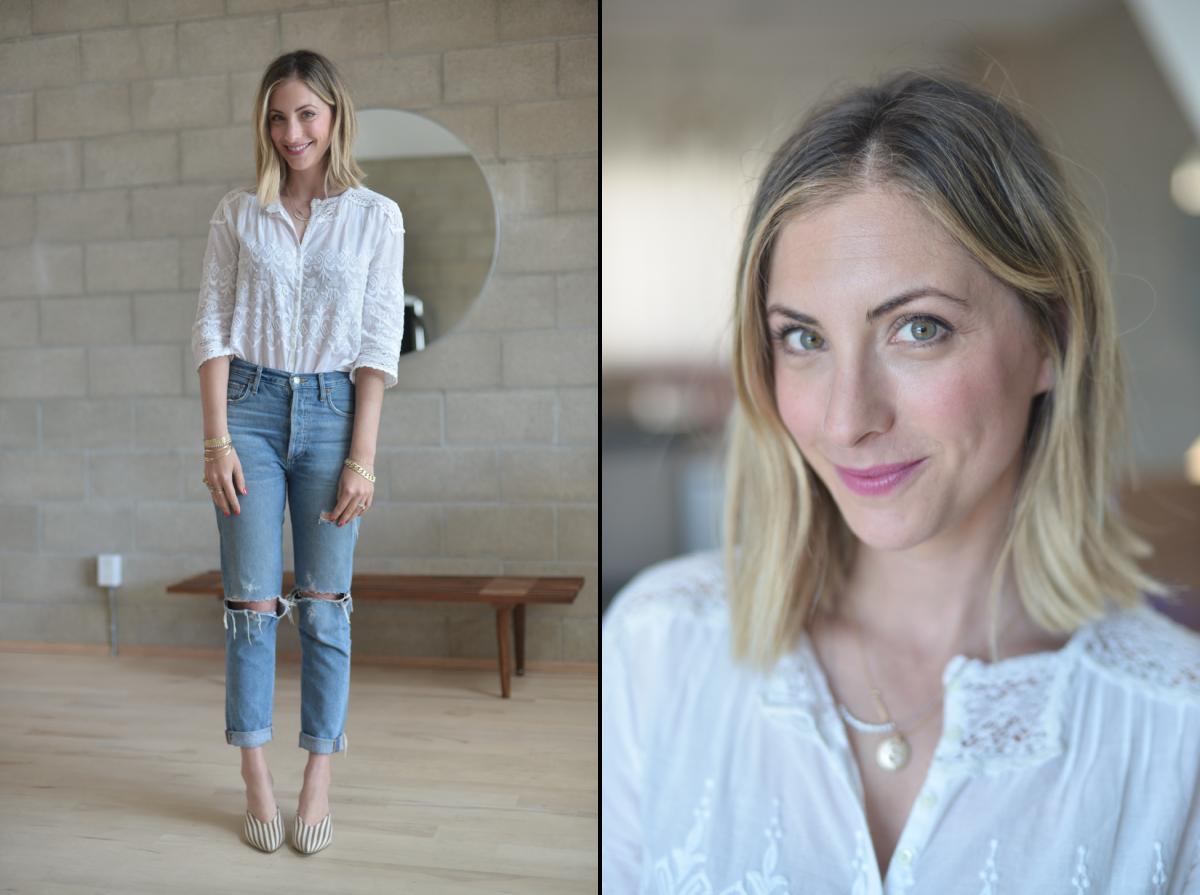 Monday: Doen Top (similar here), Agolde Jeans, Loeffler Randall Pumps, Laura MercierVelour Matte Lipstick