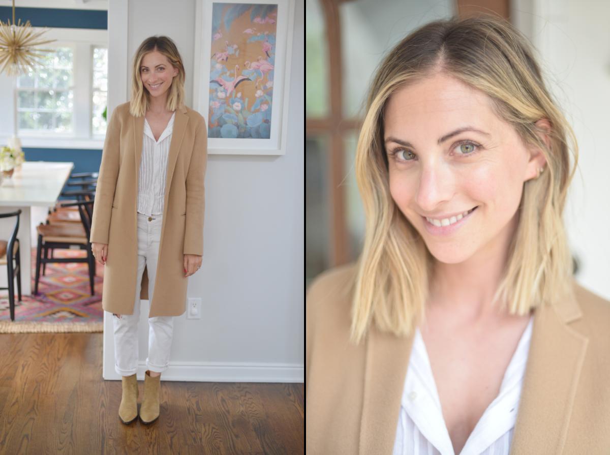 Theory Coat (similar here), Isabel Marant Blouse (similar here) and booties(similar here), McGuire Jeans (similar here)