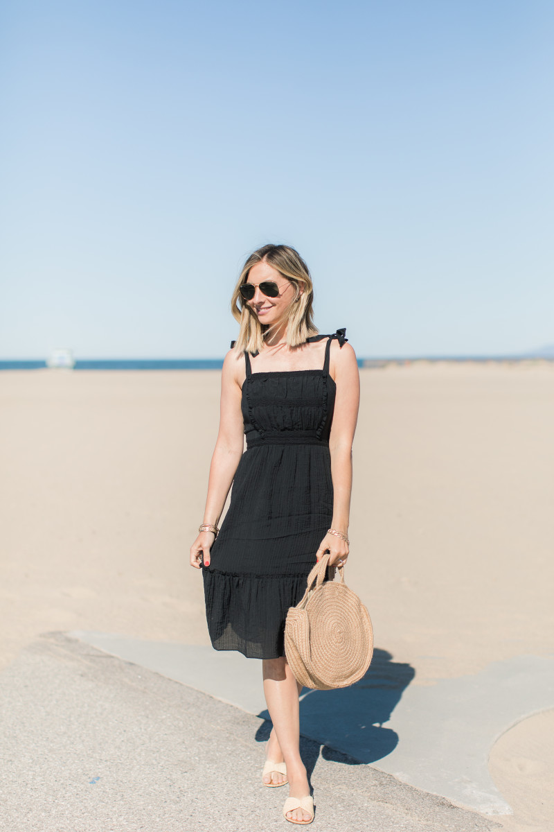 Ray-Ban Aviators, Cupcakes and Cashmere Dress, Shiraleah Straw Bag (similar here), Carrie Forbes Slides
