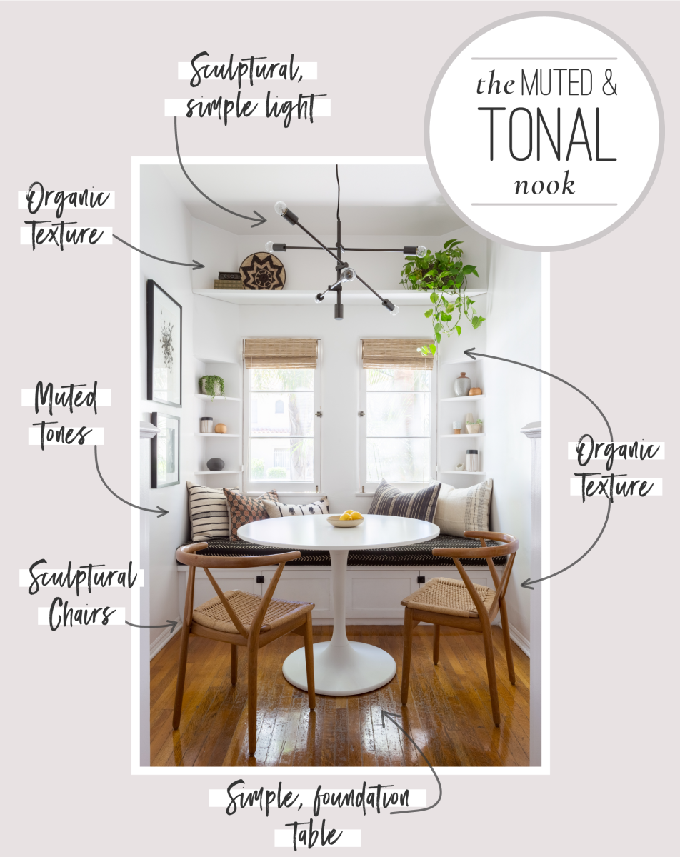 6 Tips for Creating a Cozy Breakfast Nook Graphics_Muted & Tonal Nook