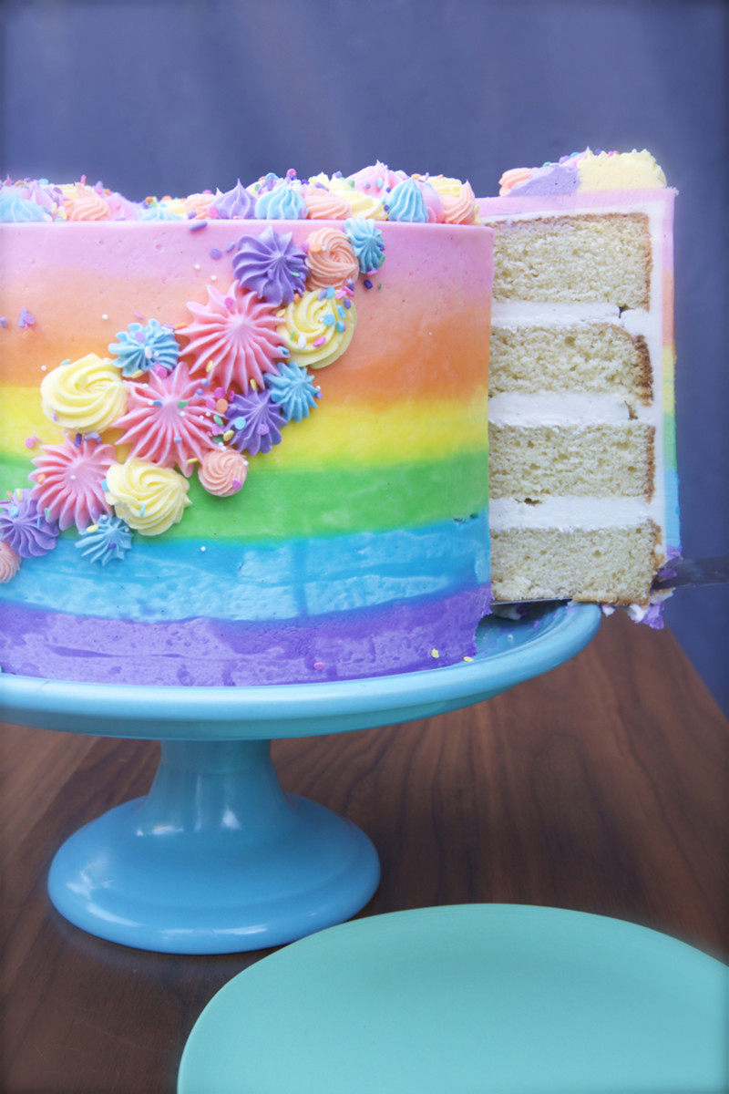 How To Make An Ombre Rainbow Cake Cupcakes Cashmere