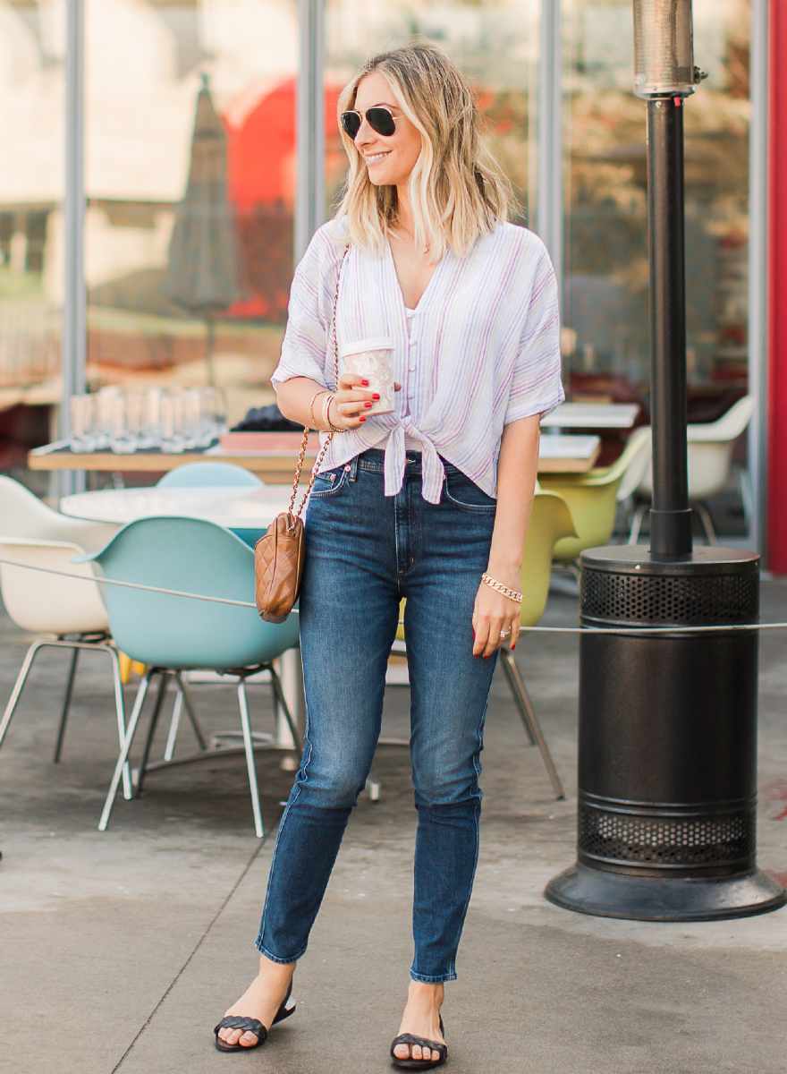 Rails Thea Shirt, Agolde jeans, Zara Sandals, Ray Ban Aviators, Vintage Chanel Purse