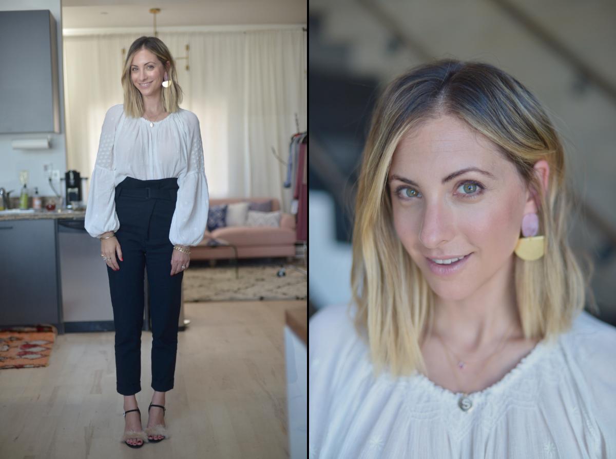 Thursday: Doen Top (similar here), Tibi Pants (similar here), Zara Sandals (similar here), One Story earrings