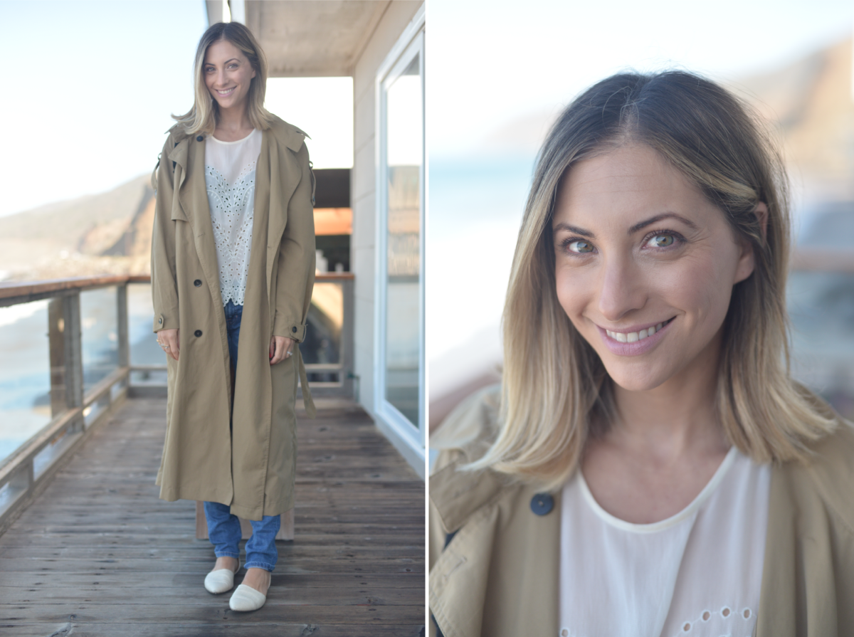 Friday: Zara Trench (similar here), IRO blouse (similar here), Elizabeth and James Denim (similar here), Jenni Kayne flats