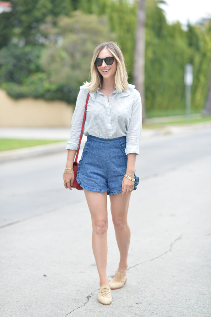 Doen Top, Samantha Pleet Shorts, Celine Bag (similar here), Clergerie Slides (more affordable version here), Celine Sunglasses (more affordable version here)