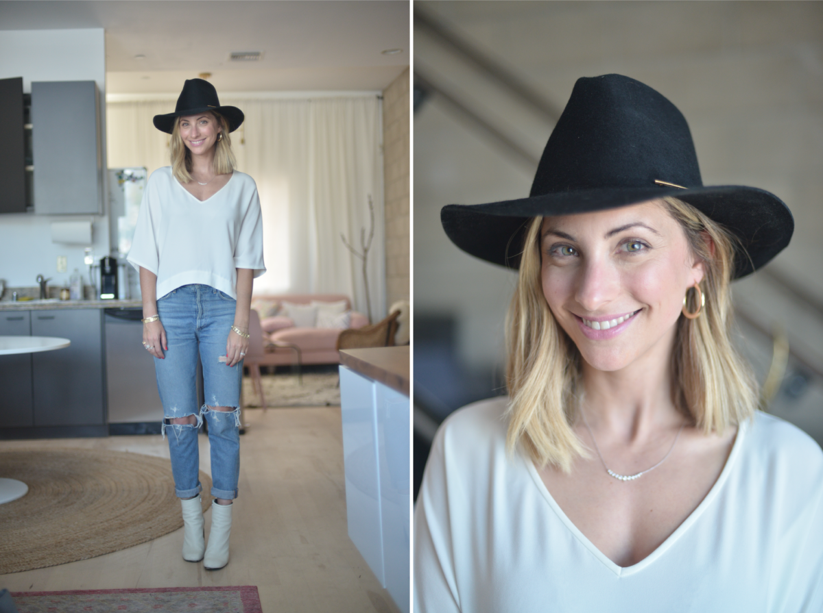 Wednesday: Janessa Leone Hat, Club Monaco Top (similar here), Agolde Jeans, Rag & Bone Booties (more affordable version here)