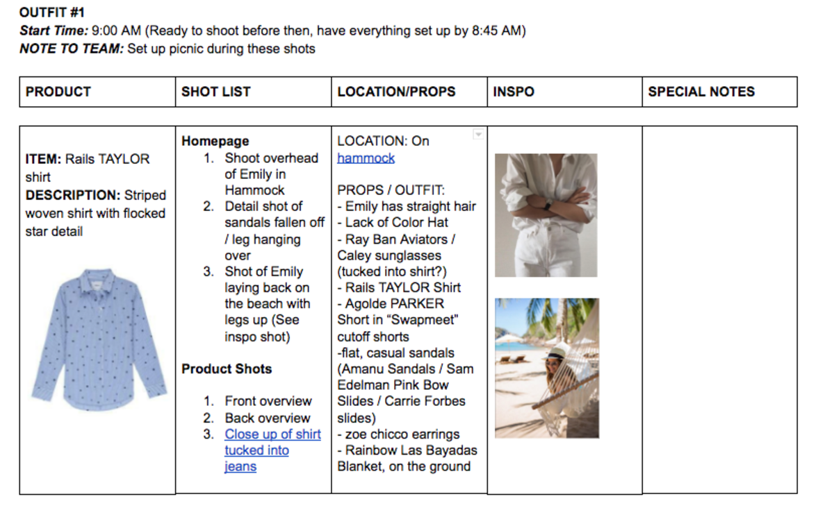 The first shot, according to our shot list