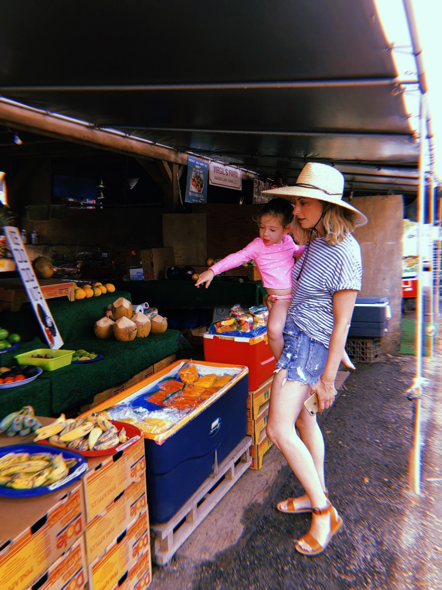 At the fruit stand with Sloan