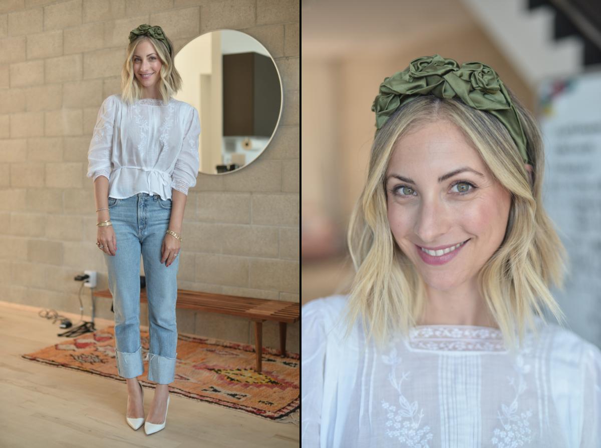 Wednesday: Jennifer Behr Headband, Doen Blouse (similar version here), Agolde Jeans, Manolo Blahnik Pumps, NARS 'Vera' Lipstick