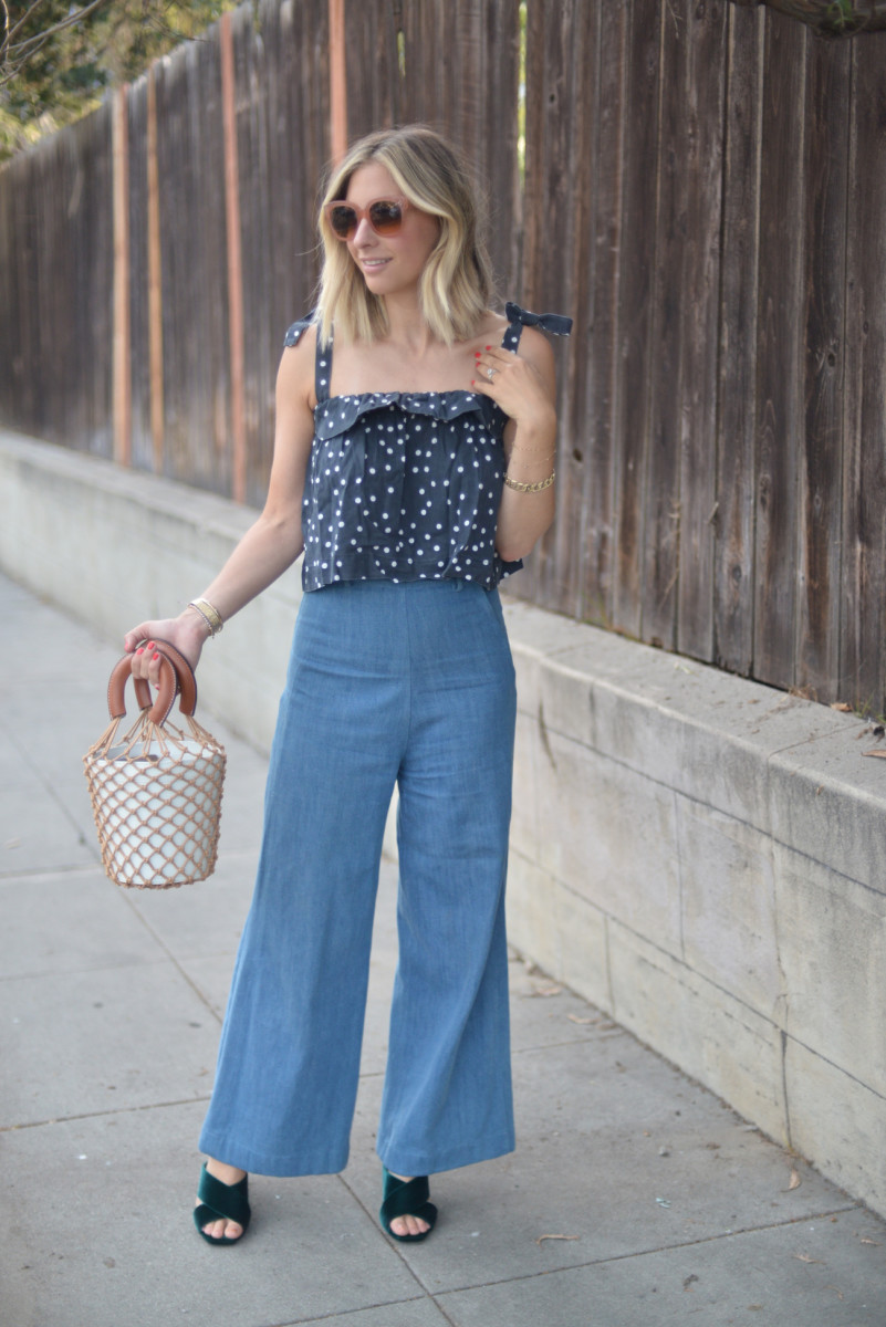Celine Sunglasses (more affordable version here), DL1961 Denim Top, Samantha Pleet Denim (similar version here, on sale!), Saint Laurent Heels (in blue here, on sale!), Staud Bag