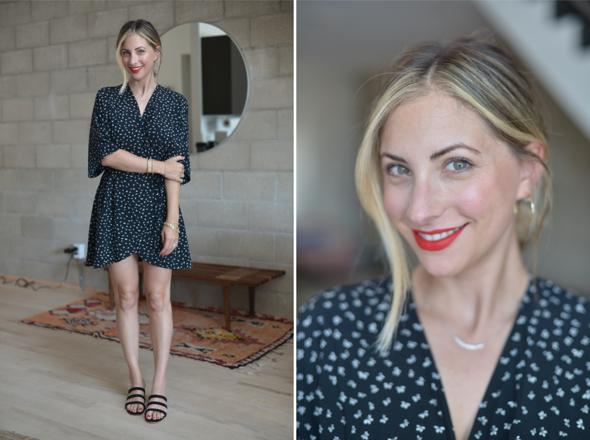 Monday: & Other Stories Dress, Charlotte Stone Sandals, Laura Mercier 'Fire' Lipstick