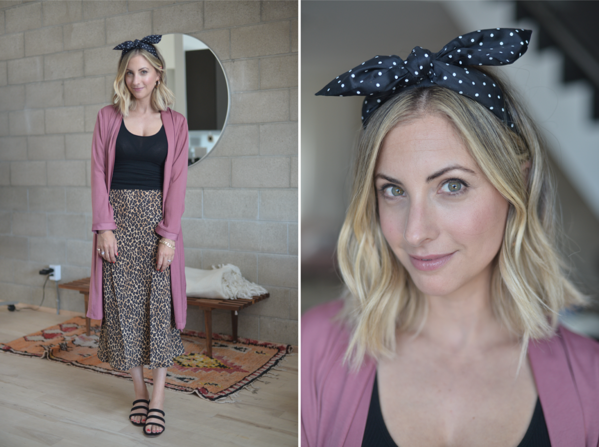Tuesday: Benoit Missolin Headband (similar version here), James Perse Tank Top, Cupcakes and Cashmere Trench, Three Dots Skirt, Charlotte Stone Heels