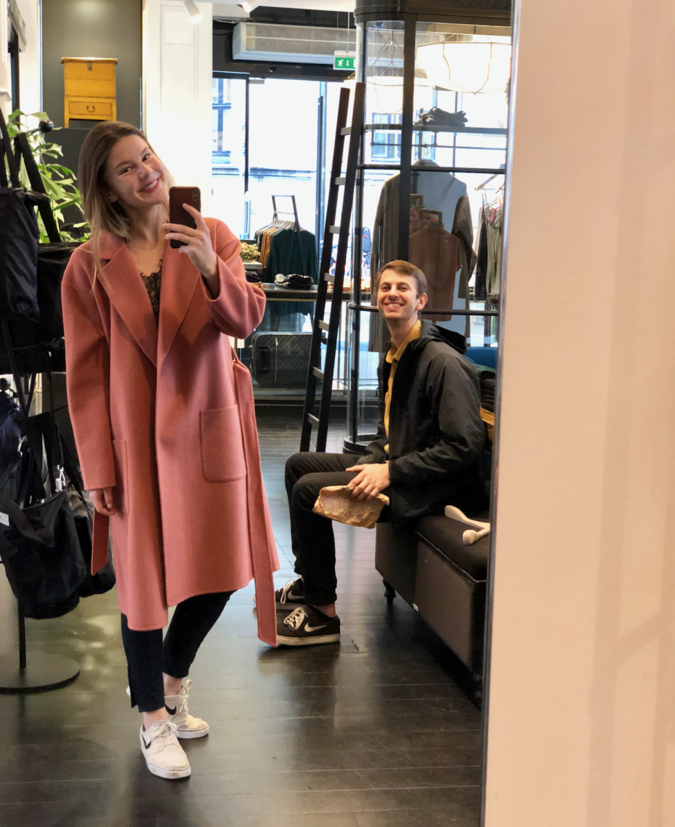 Torturing Jonah with shopping and selfies in the coat I very nearly bought (and kind of wish I had)