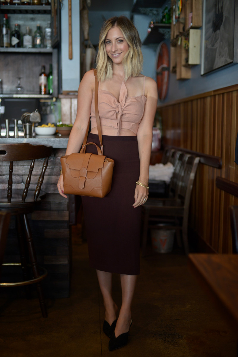 Faithfull the Brand Top, ALC Skirt (similar here), SENREVE Mini Maestra Bag in Chestnut, Alexandre Birman Shoes (similar here)